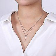 14k White Gold Delicate Layered Pave Diamond Fashion Necklace