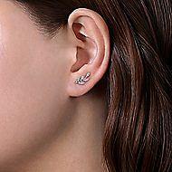 14k White Gold Diamond Leaves Stud Earrings