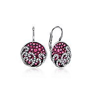 14k White Gold Diamond and Ruby Cluster Round Drop Earrings