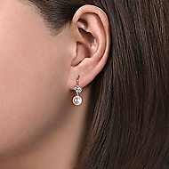 14k White Gold Drop Floral Cultured Pearl Earrings