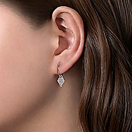 14k White Gold Drop Kite Shaped Earrings