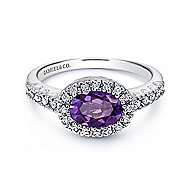14k White Gold East-West Set Oval Amethyst & Diamond Fashion Ring