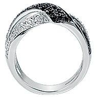 14k White Gold Ebony Ivory Fashion Ladies' Ring angle 2
