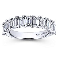 14k White Gold Emerald Cut 11 Stone Diamond Anniversary Band angle 5