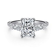 14k White Gold Emerald Cut 3 Stones Engagement Ring angle 1