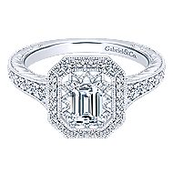 14k White Gold Emerald Cut Halo Engagement Ring angle 1