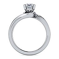 14k White Gold Emerald Cut Solitaire Engagement Ring angle 2