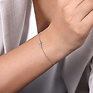 14k White Gold Faith Cross Bracelet angle 3