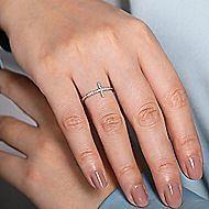 14k White Gold Faith Cross Ladies Ring