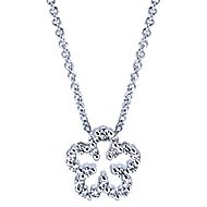 14k White Gold Floral Fashion Necklace angle 1