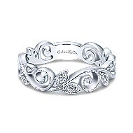 14k White Gold Floral Midi Ladies Ring