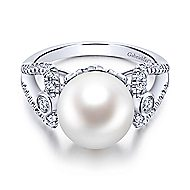 14k White Gold Grace Fashion Ladies' Ring angle 1