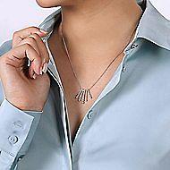 14k White Gold Graduated Diamond Fan Necklace