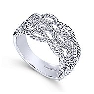 14k White Gold Hampton Twisted Ladies' Ring angle 3