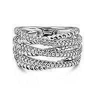 14k White Gold Hampton Wide Band Ladies' Ring angle 1