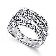 14k White Gold Hampton Wide Band Ladies' Ring angle 3