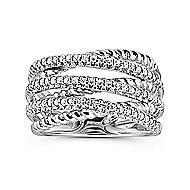 14k White Gold Hampton Wide Band Ladies' Ring angle 4