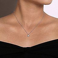 14k White Gold Hexagonal Diamond Halo Necklace