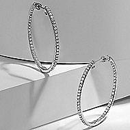 14k White Gold Hoops Classic Hoop Earrings angle 5