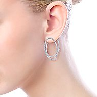 14k White Gold Hoops Intricate Hoop Earrings angle 4