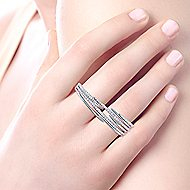 14k White Gold Kaslique Double Ring Ladies Ring