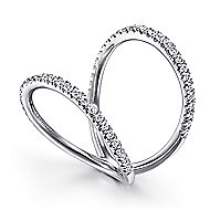 14k White Gold Kaslique Fashion Ladies' Ring angle 3
