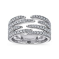 14k White Gold Kaslique Fashion Ladies' Ring angle 4