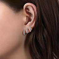 14k White Gold Kaslique J Curve Earrings