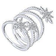 14k White Gold Kaslique Statement Ladies Ring