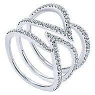 14k White Gold Kaslique Twisted Ladies Ring