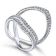 14k White Gold Kaslique Wide Band Ladies' Ring angle 3