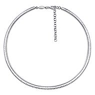 14k White Gold Lusso Choker Necklace angle 2