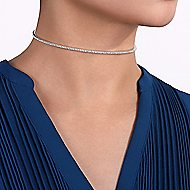 14k White Gold Lusso Choker Necklace angle 3