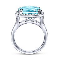 14k White Gold Lusso Color Classic Ladies Ring