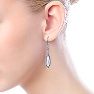 14k White Gold Lusso Color Drop Earrings angle 3