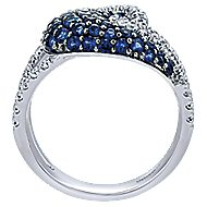 14k White Gold Lusso Color Twisted Ladies Ring