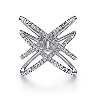 14k White Gold Lusso Diamond Fashion Ladies' Ring angle 1