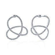 14k White Gold Lusso Diamond Intricate Hoop Earrings angle 1