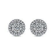 14k White Gold Lusso Diamond Stud Earrings angle 1