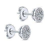 14k White Gold Lusso Diamond Stud Earrings angle 2