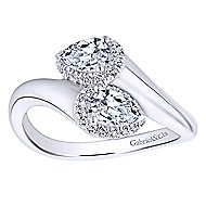 14k White Gold Lusso Fashion Ladies' Ring angle 4
