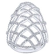 14k White Gold Lusso Statement Ladies Ring