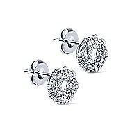 14k White Gold Lusso Stud Earrings angle 2