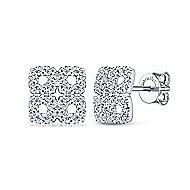 14k White Gold Lusso Stud Earrings angle 1