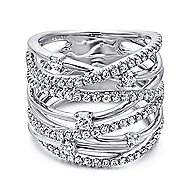 14k White Gold Lusso Twisted Ladies' Ring angle 1