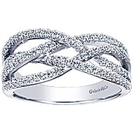 14k White Gold Lusso Twisted Ladies Ring