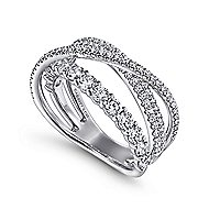 14k White Gold Lusso Wide Band Ladies Ring