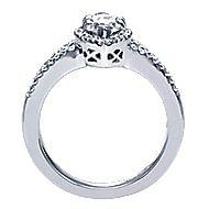 14k White Gold Marquise  Halo Engagement Ring angle 2