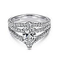 14k White Gold Marquise  Split Shank Engagement Ring angle 1