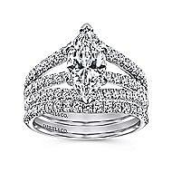 14k White Gold Marquise  Split Shank Engagement Ring angle 4